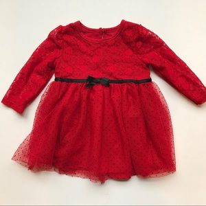 MINI B by BABY STARTERS Red Tulle Christmas Dress
